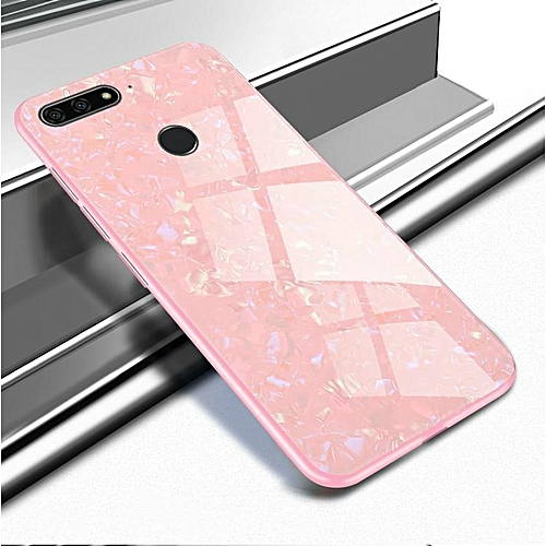 big sale 65650 b488a Huawei Y6 Prime 2018 / Y6 Pro 2018 Luxury Hard Tempered Glass Case Marble  Shell Pattern Design Glass Back Cover For Y8 Prime 2018 Housing