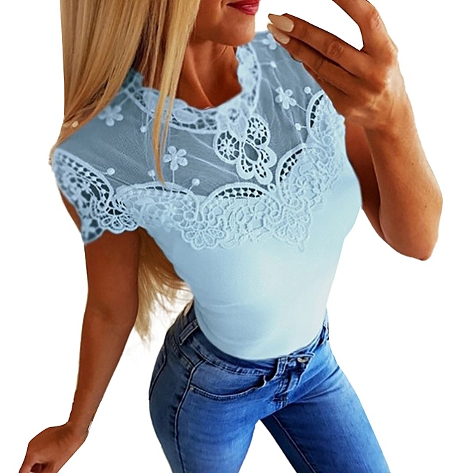0df0ae5d whiskyky store Women's Fashion Summer Solid Color Lace Short-Sleeved Shirt  Loose T-Shirt