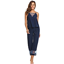 Women Strap Camisole And Pants Pajamas Sets Chiffon Patchwork Loose Nightwear ( Navy Blue )