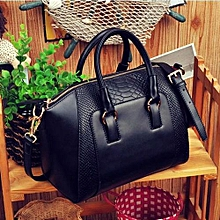 bluerdream-Women Shoulder Bag Faux Leather Satchel Cross Body Tote Handbag Black-Black
