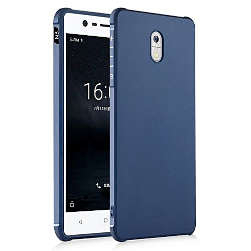 new arrival 8198f c09c5 NOKIA 3 Silicon Case, Matte TPU Anti-knock Phone Back Cover For NOKIA  3-(black & Blue & Gray).