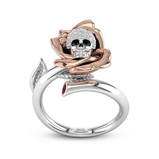 Buy Generic Creative Skull Heads Diamond Valentine Gift Ring Kull