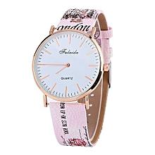 Lady  Leather Wrist Watch Fulaida  Printing Pattern Fashion Women Colored PU Leather Watch -Pink