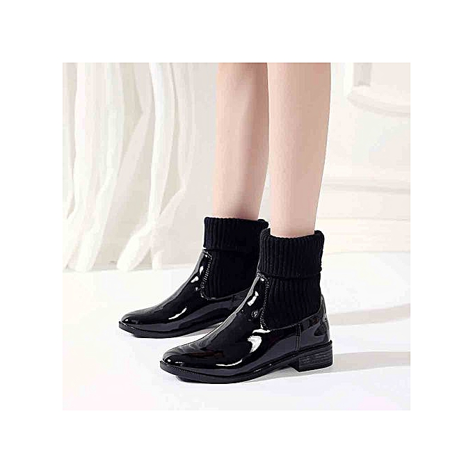 8109bd90051 Jiahsyc Store Fashion Women's Low Heel Rivet Booties Patent Leather Square  Heels Martin Boots-Black