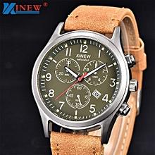 Men's PU Leather Band Watches Military Sport&Gym Analog Quartz Date Wrist Watch-Khaki