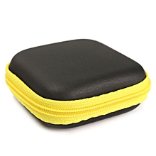 Mini Colorful Square Case Bag Holder Storage Box For In-ear Headphones Headset Yellow PU Material