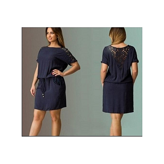 d3b39862ff6 Great Midi Dresses Short Sleeve Women Elegant O-neck Sexy Lacy Solid Color  Knee Lenght