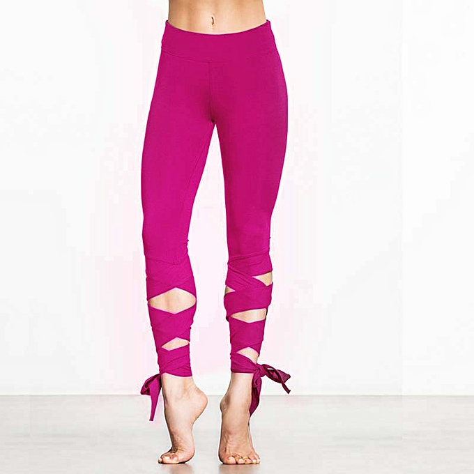 Fashion Women Lace Up Ballet Dancing Leggings High Waist Push Up Fitness  Skinny Pants Pantalon Workout 2e748acf31c
