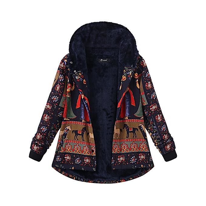 244efd3b5ada8 Fashion Plus Size Thick Warm Coats Casual Women Printing Hooded Coat ...