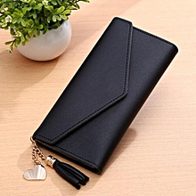 Chic Women Lady Clutch Long Purse Leather Wallet Card Holder Handbag Phone Bag Black