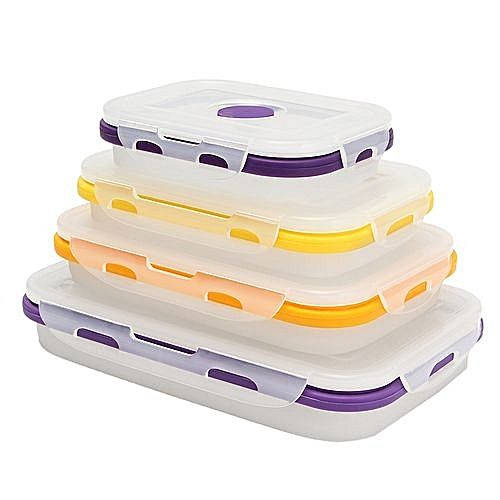 bf6e2d423209 4 Size Set Silicone Collapsible Transparent Lunch Boxes Portable Food  Containers