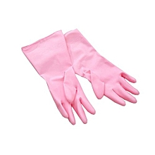 Cleaning Long Sleeve Rubber Kitchen Wash Dishes Dishwashing Gloves - Pink