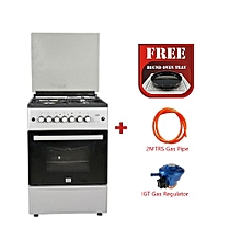 Free Standing Cooker, 4 Gas Burners, Gas Oven - MST60PIAGSL/EM, 60 X 60, With Free Oven Tray, 2M German Technology Gas Pipe and IGT Snap On Compact Low Pressure Regulator - Silver