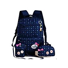 School Bags Backpack kids Orthopedic Backpack 3pcs/Set Rucksack-Navy Blue