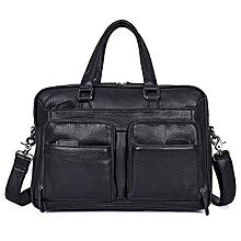 Men Genuine Leather Solid Vintage Handbag Crossbody Bag Casual Business Shoulder Bag