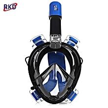 RKD Anti Fog Detachable Dry Snorkeling Full Face Mask Set_BLUE AND BLACK_L