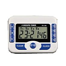 4 Channels Digital Timer 1s-99hrs Kitchen Timer Clock-White