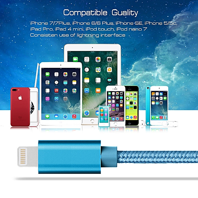 93de5b43543 ... 3A Woven Style Metal Head 8 Pin to USB Data / Charger Cable for iPhone  6s