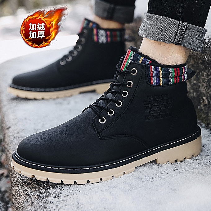 acea1368f21 Men's plus velvet Martin shoes casual men's shoes high to help waterproof  high shoes-black