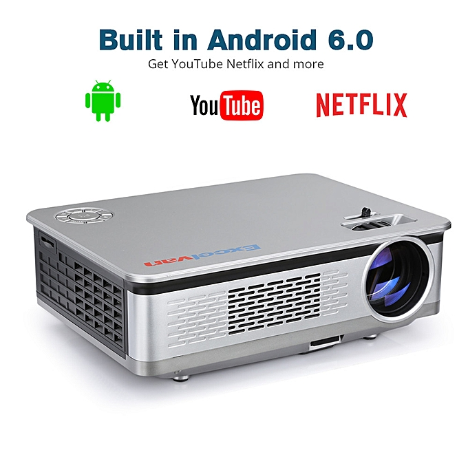 "Home Projector Android 6 0 1080P 5 8"" LCD 3200lm EU - Gray"