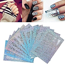 24 Sheets New Nail Hollow Irregular Grid Stencil Reusable Manicure Stickers -Silver 78*55mm
