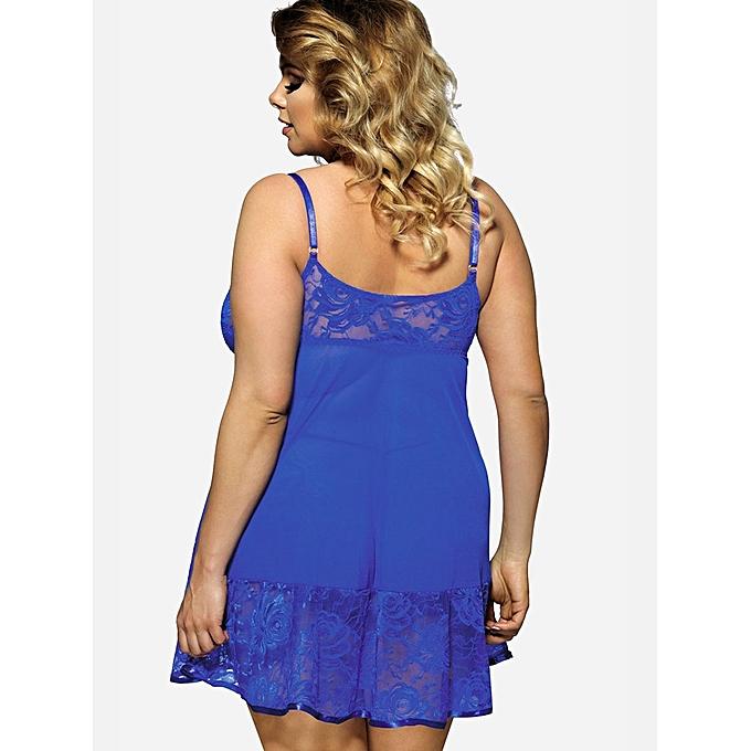 5a2fe9af0a516 ... Fashion Leadsmart Plus Size Spaghetti Strap Lace Panel Babydoll