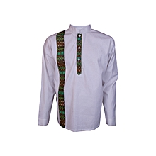 African Print Men's shirt-White