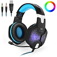 KOTION EACH G1000 Professional 3.5mm Plug Bass Stereo Gaming Headphone with Microphone & Colorful LED Light, For PS4, Smartphone, Tablet, Computer, Notebook(Blue)