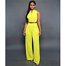 2e16e64aace82 New arrivel Women Elegant Sleeveless Belted Wide Leg Jumpsuit S-2XL Plus  Size Macacao Long
