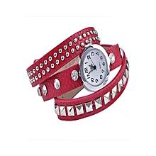 Fashion Rivet Leather Strap Bracelet Watch (Red)