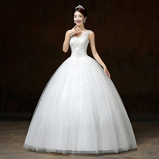 30e7f7908e Luxury Wedding Dress Embroidery Appliques Scoop Ball Gown