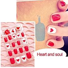 24Pcs Women Fake Nails Beauty Nail Art Tips False Nails DIY Manicure Kit