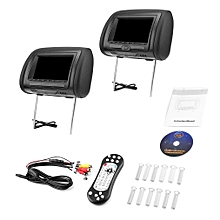 2PCS Universal 7 Headrest Car DVD+AV Player Black Monitors FM Transmitter""