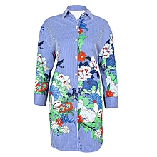 Blue 3\4 Sleeve Floral Dress Top