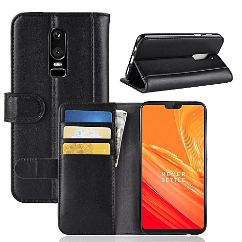new product eab6f e20df Real Leather Wallet Case Cover for OnePlus 6