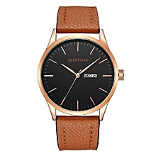 Large Dial Auto Date Watch Fashion Waterproof Leather Strap Quartz Watches