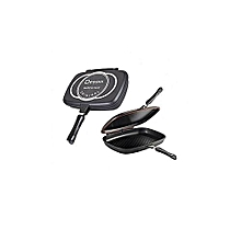 Cook, Fry pan, Non-stick pan, Handy Frying Pan, Double Sided Grill Pan 36cm - Black