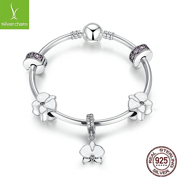 925 Sterling Silver Clear Orchid Cz Charm Bracelets Gift Case 17cm