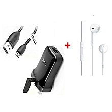 3 Pin Charger & Sync Cable - Black Plus Generic Earphones White