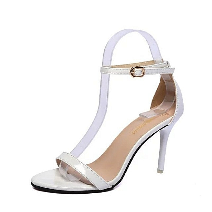 9010cf6f99 New Stylish Spring and Summer Women's Sexy Lacquer Leather Sandals High  Heel Roman Sandals-White
