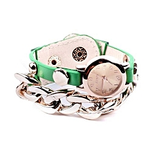Fashion Punk Plated Leather Chain Watches ( Green )