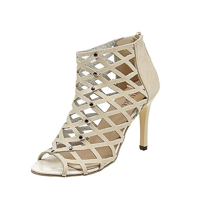 2a1108e7367 ... Hiamok Women s Fashion Peep Toe High Heels Shoes Rivet Roman Gladiator  Sandals