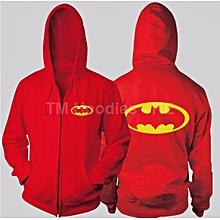 Royal Red Long Sleeved Unisex  Zip Hoodie