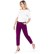 Purple Fashionable Regular Waist Stretch Standard Trousers