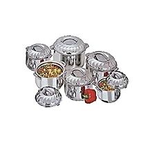 6 Piece Stainless Steel Food Server Hot Pots Set Casserole -Silver