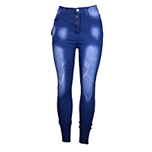 Ladies High Waist Skinny Jeans- Blue