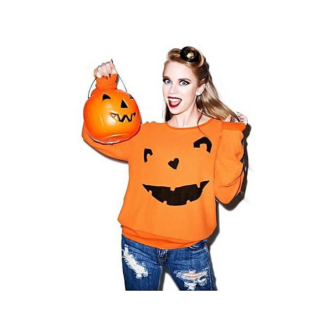 2069cc40 Hiaojbk Store Women Halloween Pumpkin Print Long Sleeve Sweatshirt Pullover Tops  Blouse Shirt-Orange