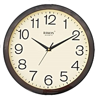 Wall clock - Round shaped, BROWN IVORY 1751 hard plastic frame