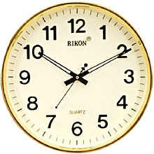 Wall clock - Round shaped,  ivory plastic frame 32 cm diameter