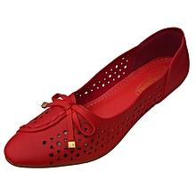 Women PU Leather Flat Shoes -  Red